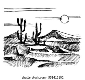 Sketch America. Landscape with cactus on the background of mountains. Stock illustration drawn gel ink pen.
