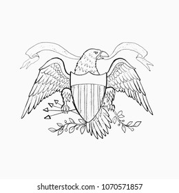 Sketch of American eagle on white background.