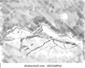 Sketch of Annapurna mountains Himalayan range
