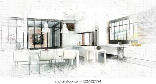 Skizze eines Künstlerloft mit einer großartigen integrierten Küche 3D-Darstellung