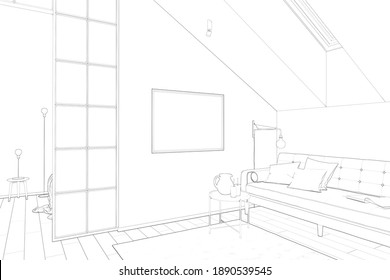 Sketch of the attic with a horizontal poster on a white wall between a sofa with a coffee table and a partition. There are a roof window and a carpet on the tiled floor in the room. 3d render
