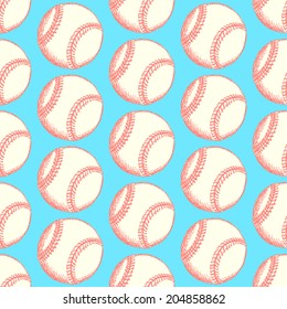 Sketch baseball ball, vintage seamless pattern