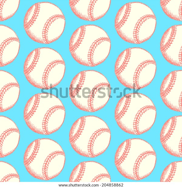 Sketch baseball ball, vintage seamless pattern