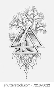 Tree Life Tattoo High Res Stock Images Shutterstock The tattoos community on reddit. https www shutterstock com image illustration sketch beautiful big tree triangle on 721878022