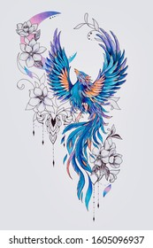Sketch of a beautiful blue fairy bird with a crescent moon.