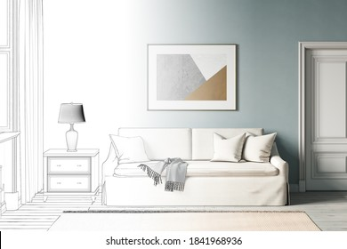 Die Skizze wird zu einem echten, modernen blauen Raum mit einem horizontalen Poster auf einem Sofa aus weißer Baumwolle, Tür, Fenster, blauem Vorhang, Lampe auf dem Nachttisch, Teppichboden auf weißem Holz. Vorderseite. 3D-Darstellung