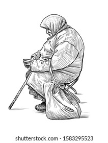 Sketch of beggar old woman sitting on the street and collecting alms