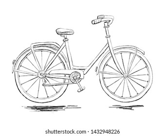 Sketch of bicycle with ground. Pencil drawing, black and white.