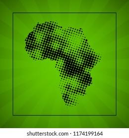 Sketch blot dotty african continent map banner. Points blotch style poster. Flat africa dot image. Dark Continent abstract print. Africa map blot background. african continent blotch silhouette