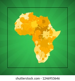 Sketch blot dotty african continent map banner. Points africa blotch style poster. Flat africa dot image. Dark Continent abstract print. Africa map blot background. african continent blotch silhouette
