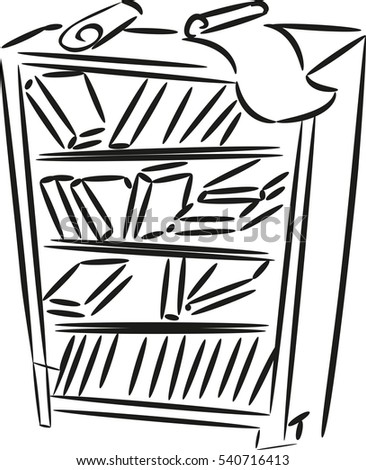 Sketch Of Bookshelf With Books And Papers