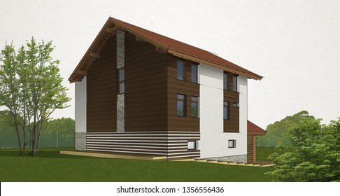sketch brick and timber house with a red roof