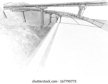 Sketch of the bridge project, in pencil.