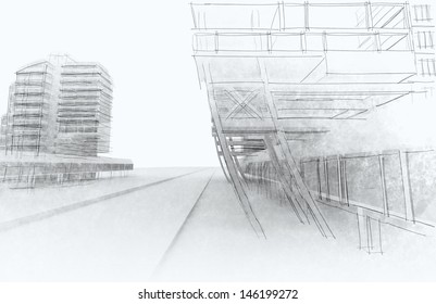 Sketch of the business center. From drawing to implementation.