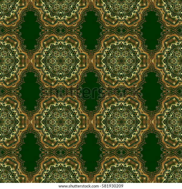 Sketch for cards, thank you message, printing. Vintage seamless border and grid for design template on a green background. Seamless pattern in Eastern style with floral golden elements.
