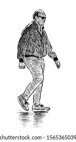 Sketch of casual bald man in sunglasses striding along street