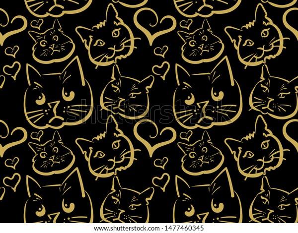 Sketch Cat Cartoon Style On Black Stock Illustration 1477460345