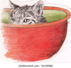Sketch of a cat poking his head out of a bowl