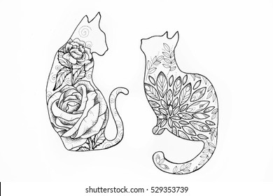 Sketch cats with patterns on a white background.
