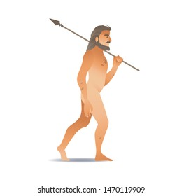 sketch caveman walking naked holding long spear. Prehistory barbarian, ancient primitive homo male character. Isolated illustration