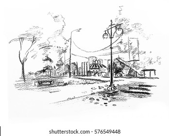 Sketch in charcoal.  Illustration of lantern on the promenade near the river Dnipro.