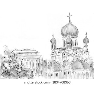 Sketch of church. Hand-drawn illustration. Russian christian culture. Grey colors, white background