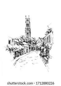 Sketch of church in street