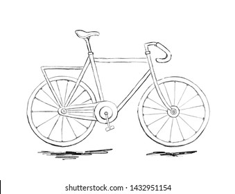 Sketch of city bicycle with ground. Pencil drawing, black and white.