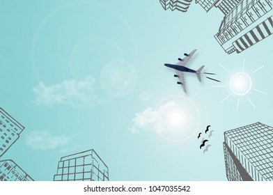Sketch of city high rise buildings and sun, with miniature plane on top of sky paper background with clouds