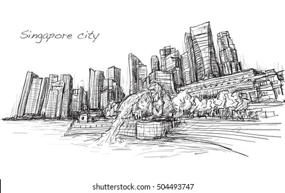 sketch city scape of Singapore skyline and building, free hand draw illustration