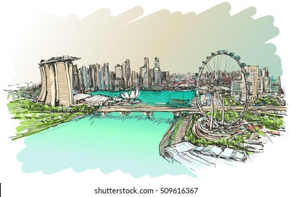 sketch city scape of Singapore skyline, free hand draw illustration