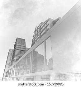 Sketch of a city street, business center.