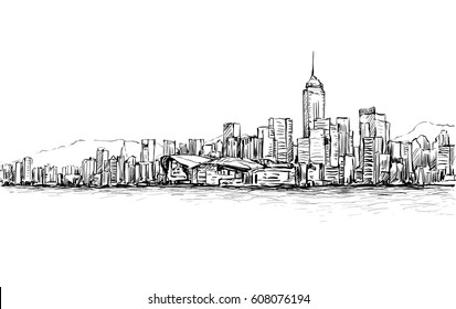 Sketch of cityscape in Hong Kong show townscape and building illustration