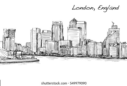 sketch cityscape of London, England, show skyline and buildings along Thames river, illustration