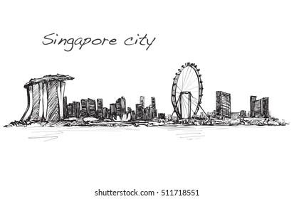 sketch cityscape of Singapore skyline, free hand draw illustration