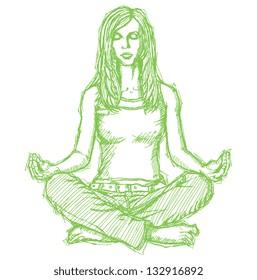 Sketch, comics style woman meditation in lotus pose