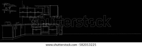 Sketch contour drawing of 3d modern corner kitchen interior black and white on long background