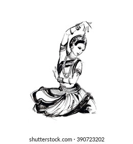 sketch of dancing girl in an Indian costume, dancer Indian dance