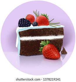 sketch of delicious homemade chokolate cake with fresh strawberries, blueberries and blackberry on lilac background