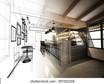 sketch design of coffee shop ,3d wire frame render