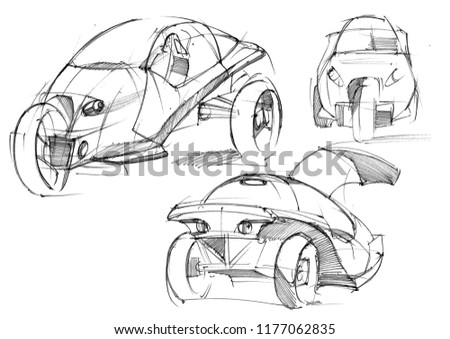 Sketch Design Exclusive Compact Electric Car Stock Illustration