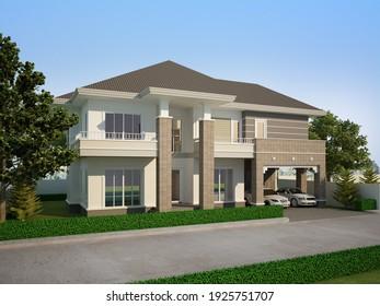 sketch design of house ,3d rendering