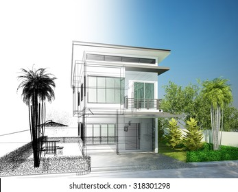 sketch design of house ,3dwire frame render