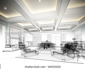 sketch design of interior living