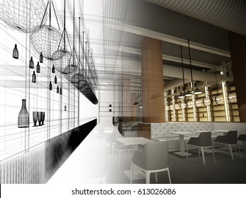 Skizzendesign   Interieur-Restaurant, 3D-Rendering