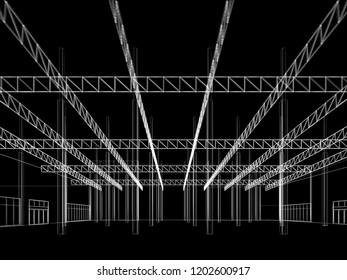 sketch design of interior warehouse, 3d rendering