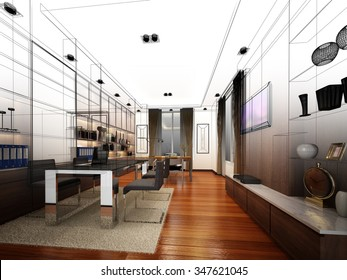 sketch design of interior working room, wire frame