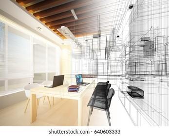 sketch design of study room ,3dwire frame render