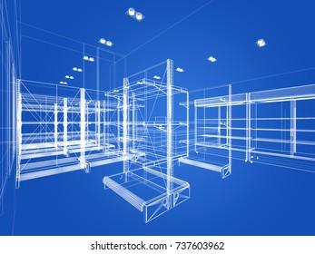 sketch design of supermarket ,3d  rendering