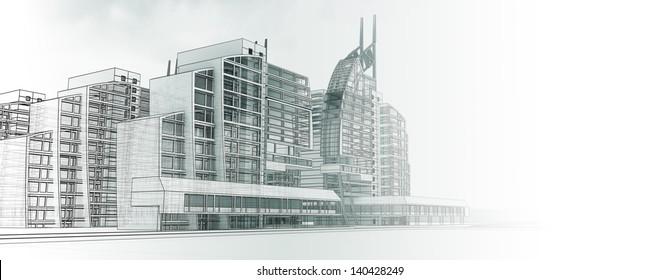 Sketch design of urban buildings in bright midtones.